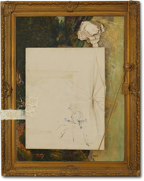 """Bien Sure"", 47 X 37 inches, oil on canvas with watermark, ink, staples, and tassel, 2013"